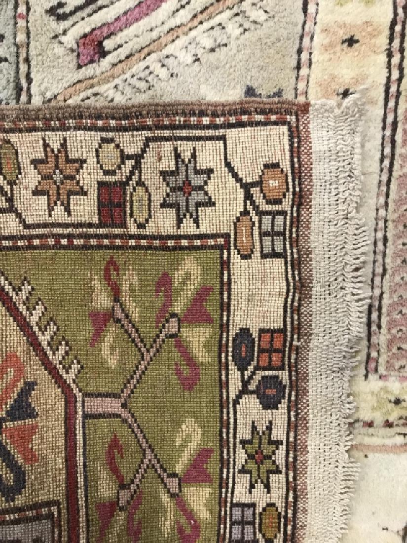 Handmade Geometric & Floral Detailed Wool Rug - 4
