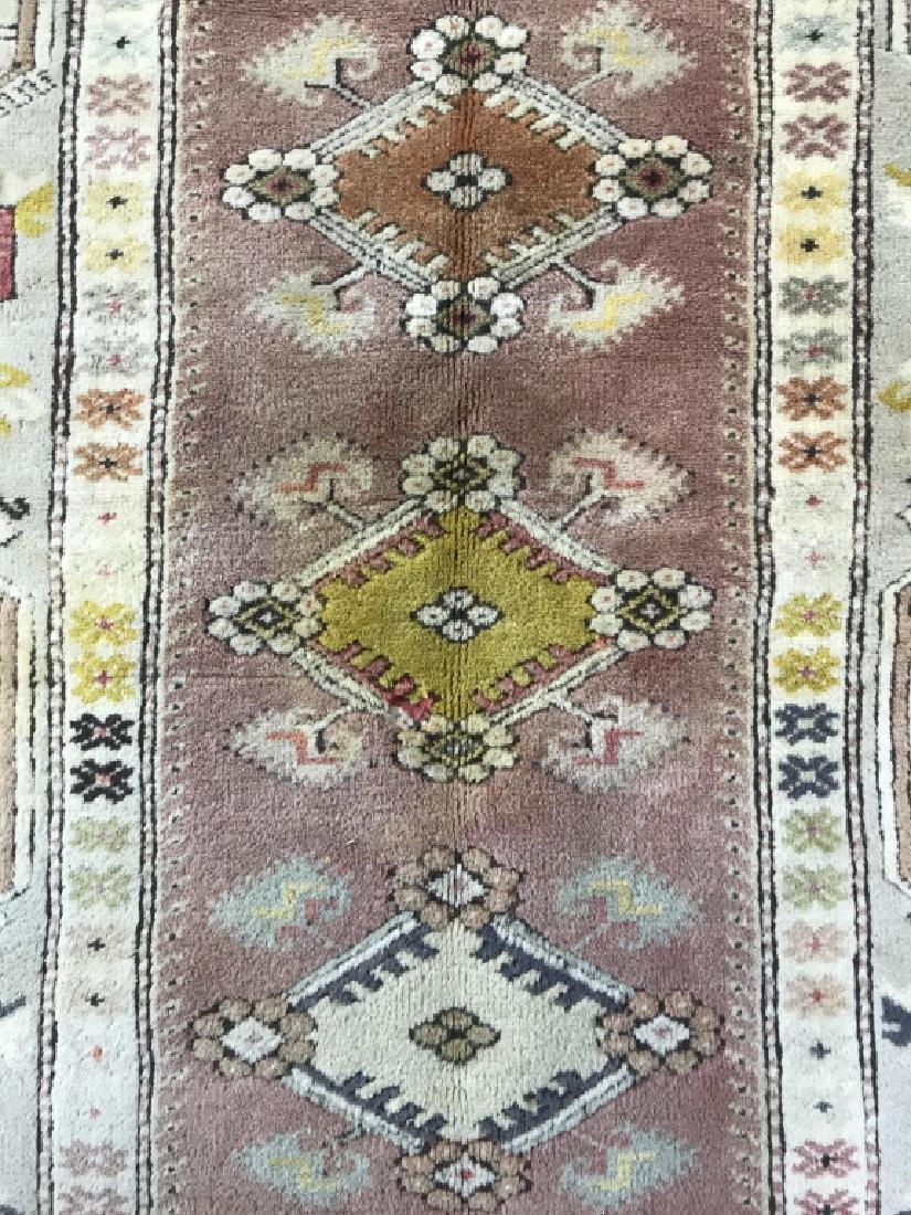 Handmade Geometric & Floral Detailed Wool Rug - 5