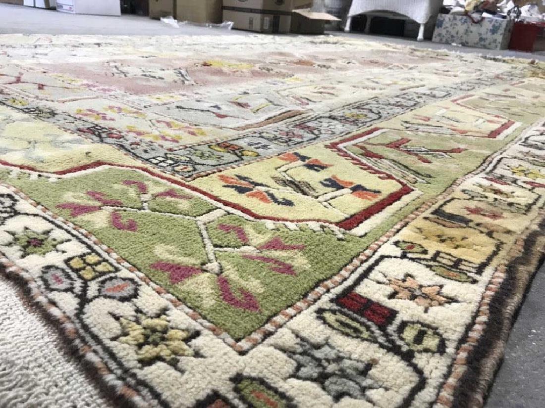 Handmade Geometric & Floral Detailed Wool Rug - 6