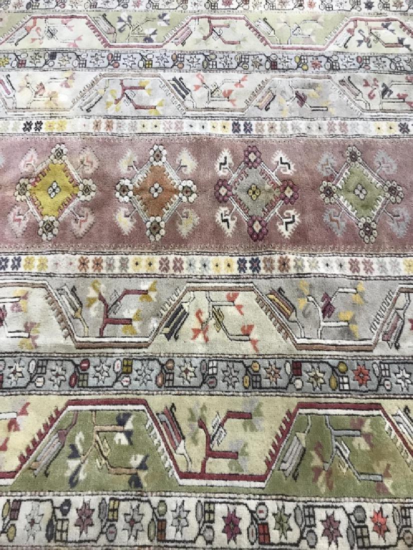 Handmade Geometric & Floral Detailed Wool Rug - 7