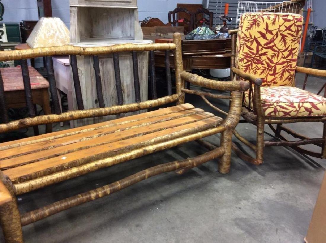Pair Vintage Adirondack Chair and Sofa