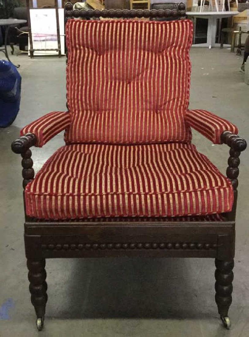 English Bobbin Wood Carved Armchair - 2