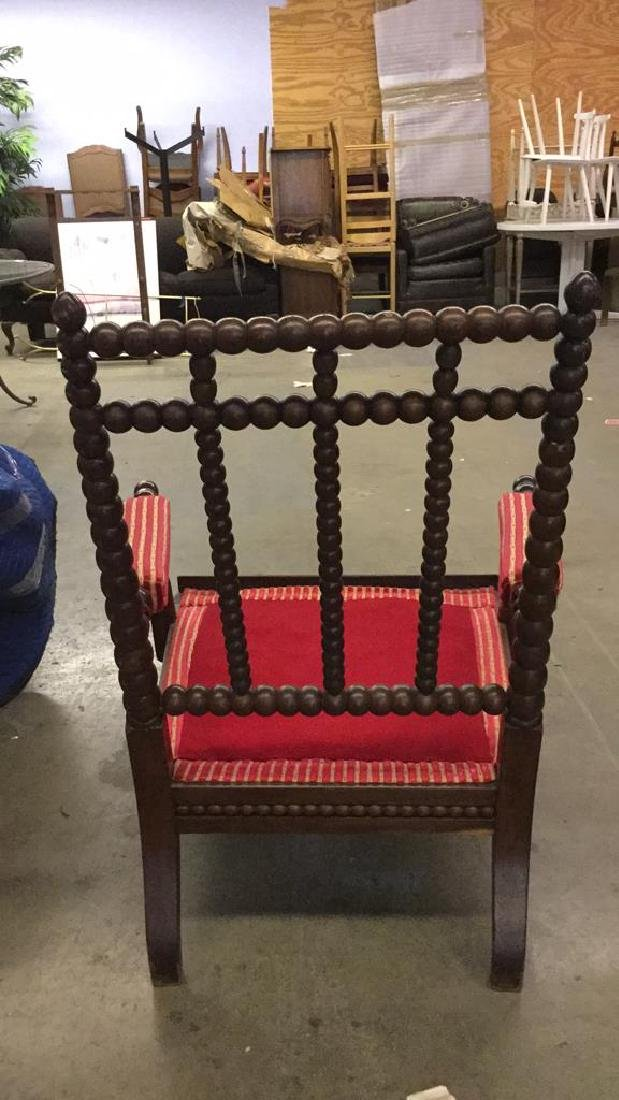 English Bobbin Wood Carved Armchair - 9
