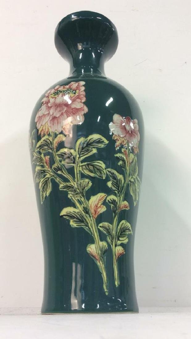 Asian Floral Detailed Ceramic Porcelain Vase - 3