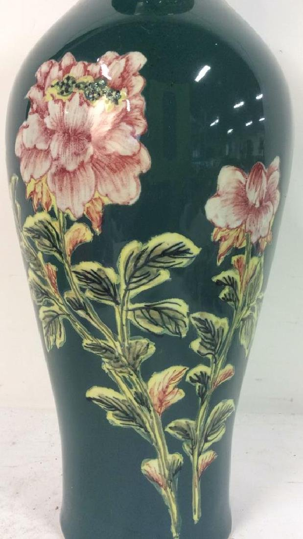 Asian Floral Detailed Ceramic Porcelain Vase - 4