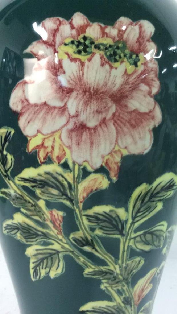 Asian Floral Detailed Ceramic Porcelain Vase - 6