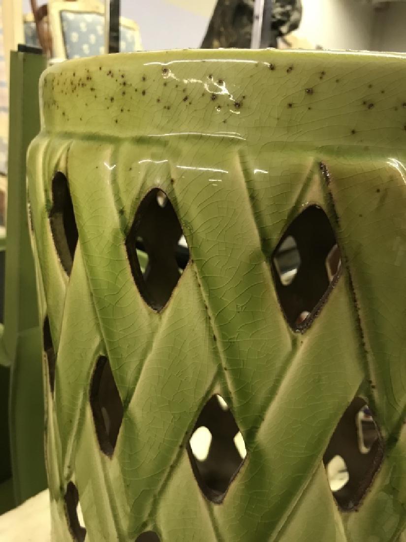 Green Toned Porcelain Garden Stool - 2
