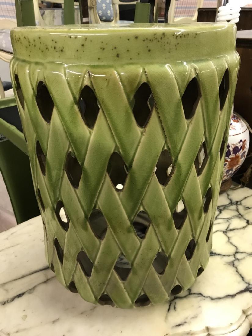 Green Toned Porcelain Garden Stool - 3
