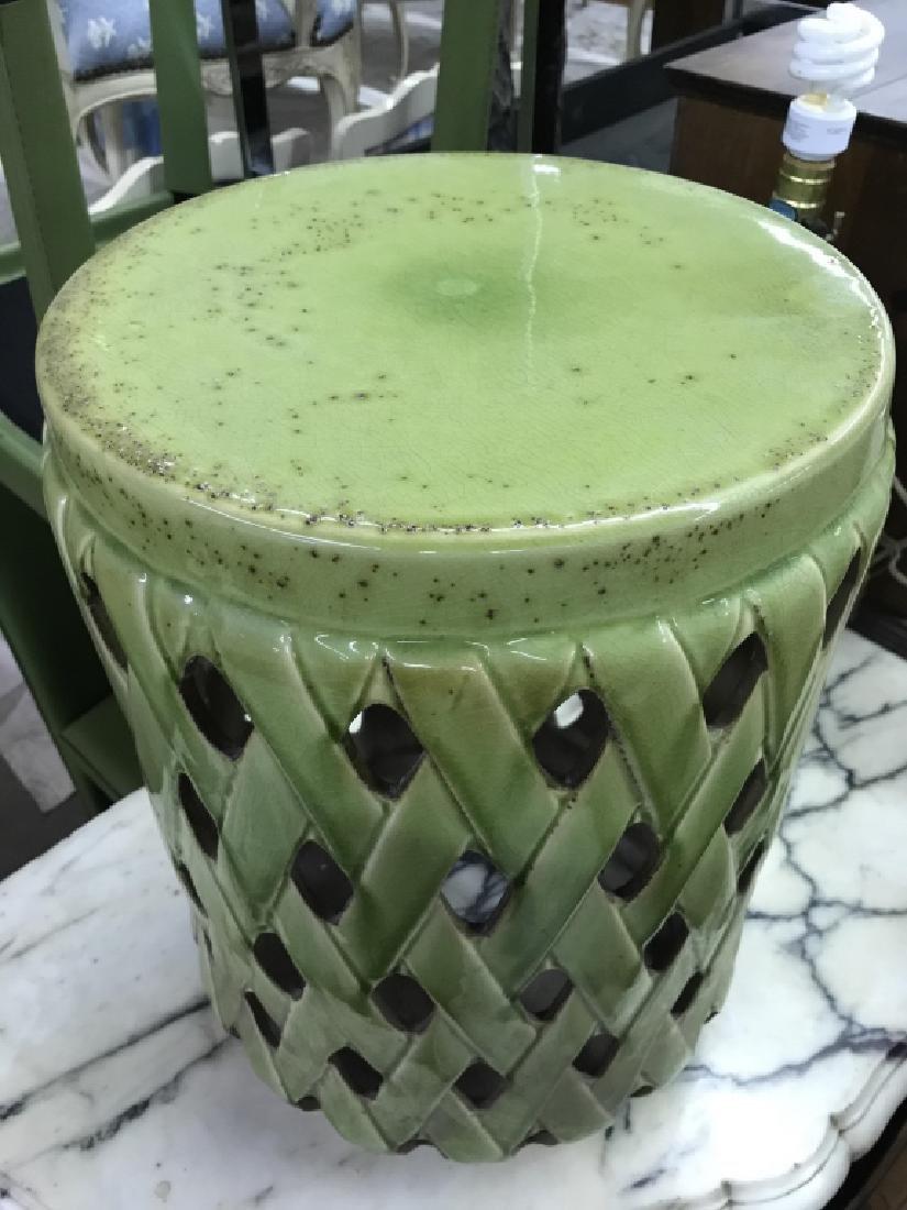 Green Toned Porcelain Garden Stool - 5
