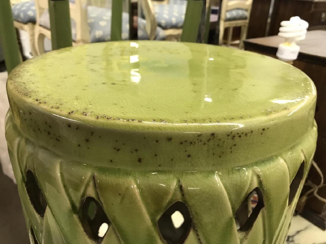 Green Toned Porcelain Garden Stool - 7