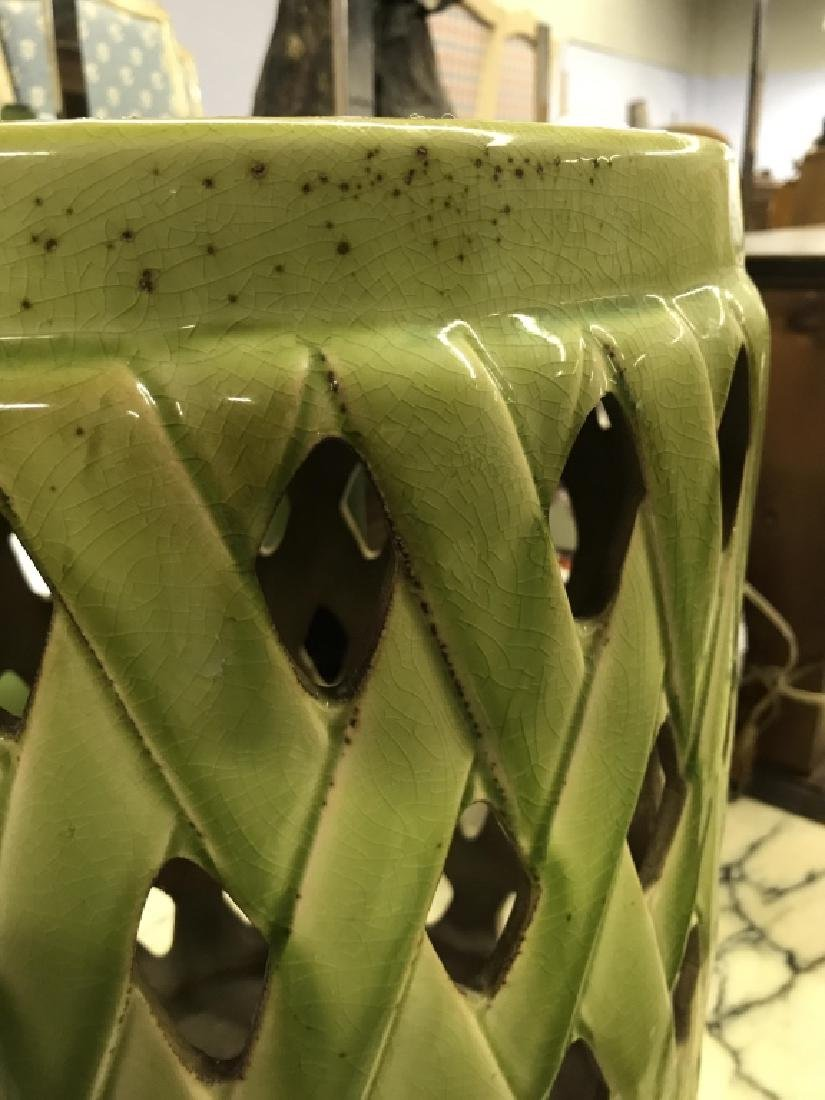 Green Toned Porcelain Garden Stool - 8