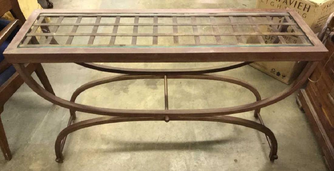 Contemporary Metal Console Table W Glass Top