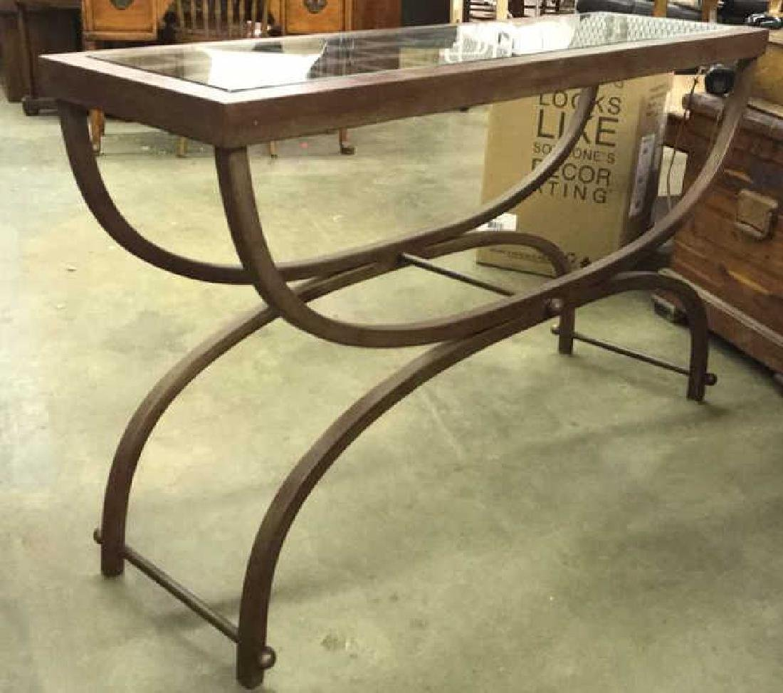 Contemporary Metal Console Table W Glass Top - 3
