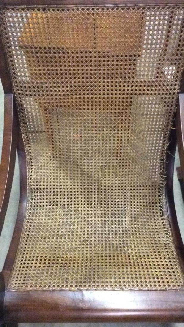 Polished Wood and Cane Plantation Chair - 7