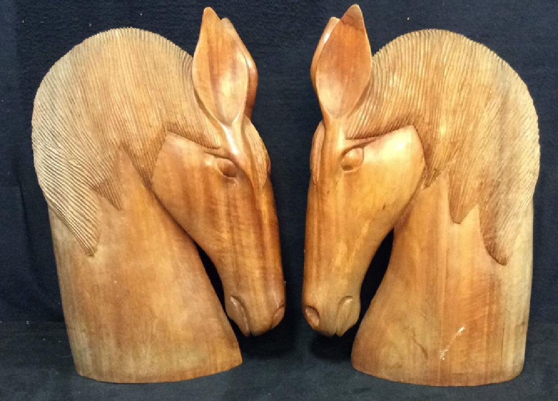 Pair Hand Carved Wooden Horse Head Sculptures