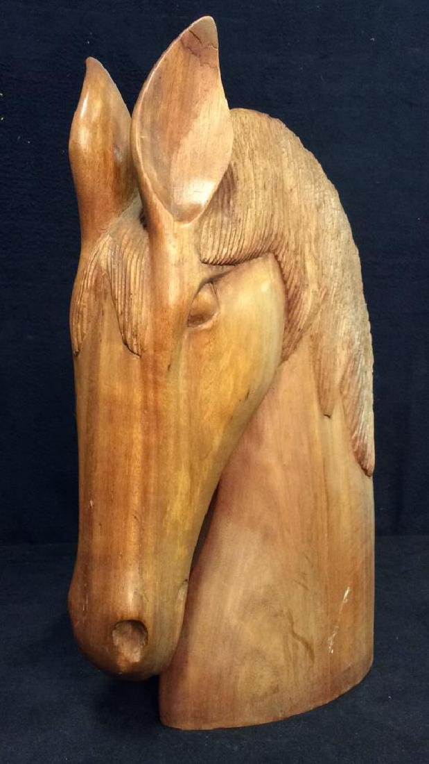 Pair Hand Carved Wooden Horse Head Sculptures - 2