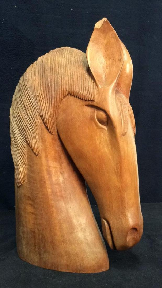 Pair Hand Carved Wooden Horse Head Sculptures - 4