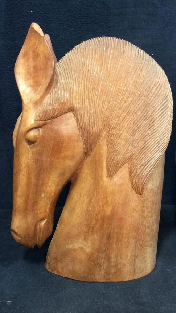 Pair Hand Carved Wooden Horse Head Sculptures - 6