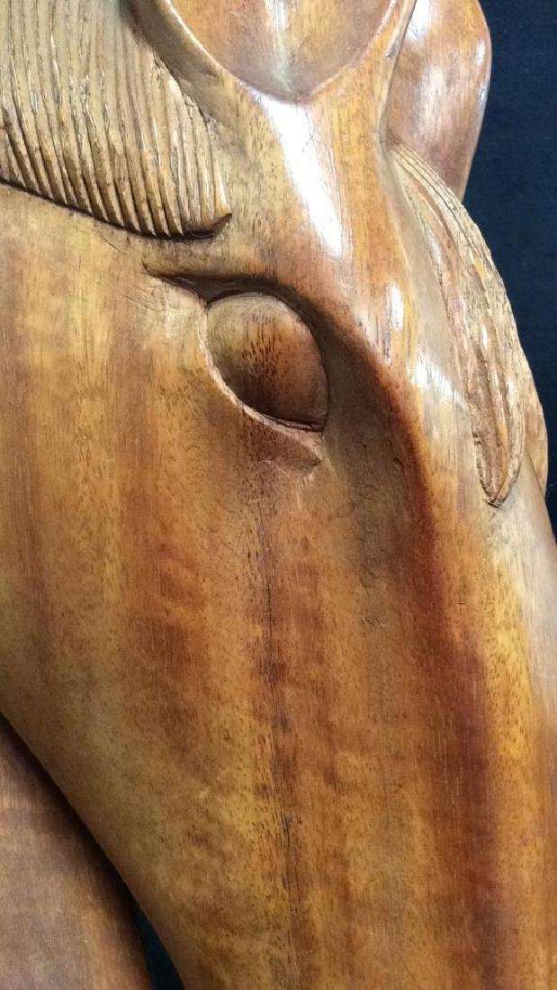 Pair Hand Carved Wooden Horse Head Sculptures - 9