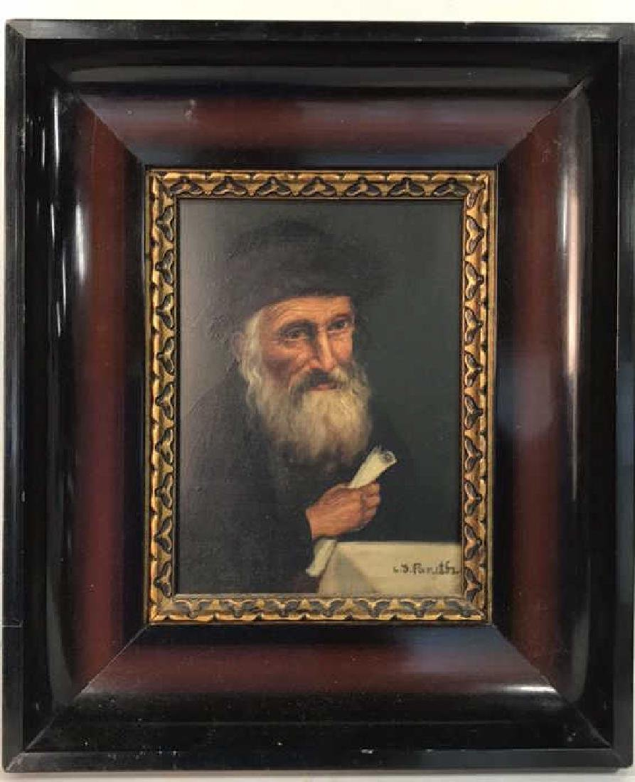Signed Oil Painting On Board Of Rabbi