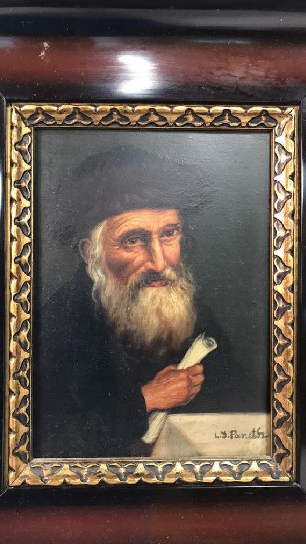 Signed Oil Painting On Board Of Rabbi - 2