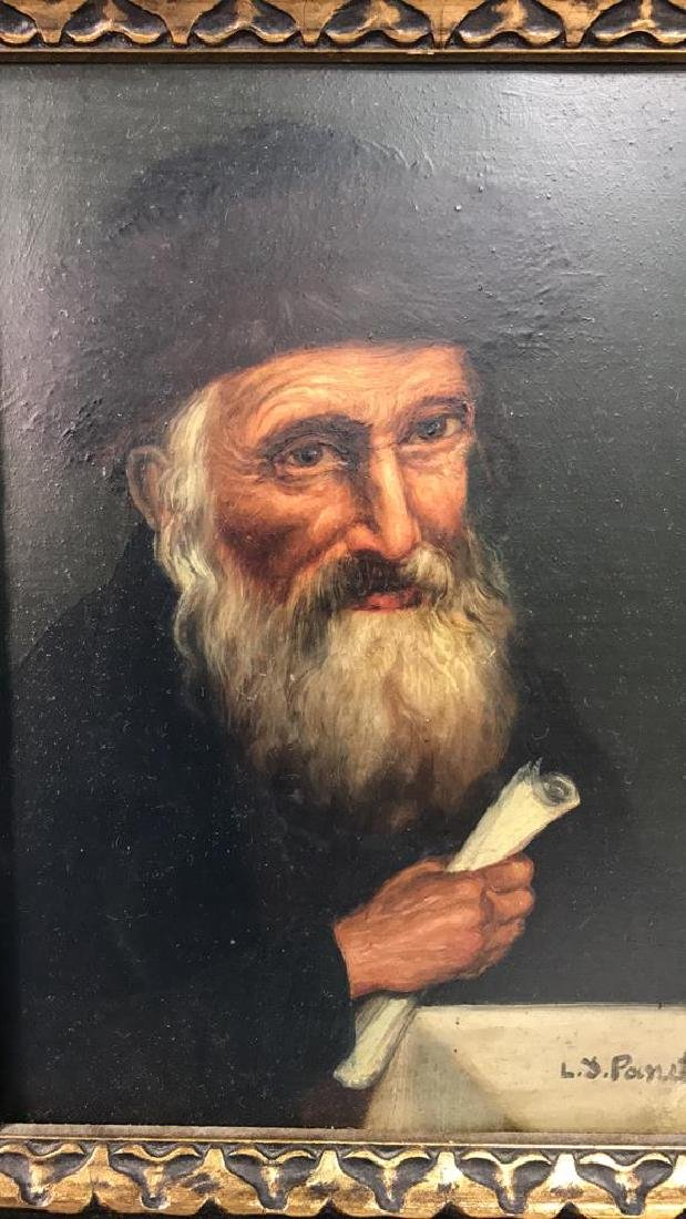 Signed Oil Painting On Board Of Rabbi - 3