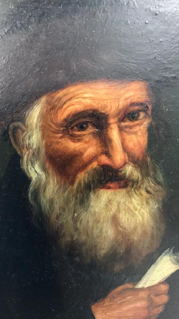 Signed Oil Painting On Board Of Rabbi - 4