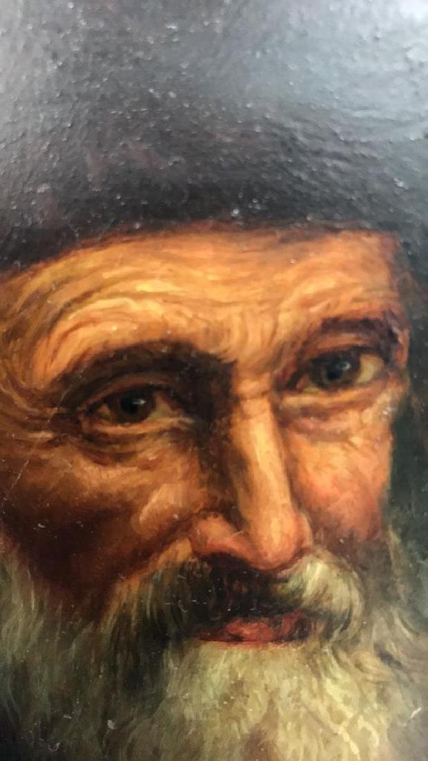 Signed Oil Painting On Board Of Rabbi - 5