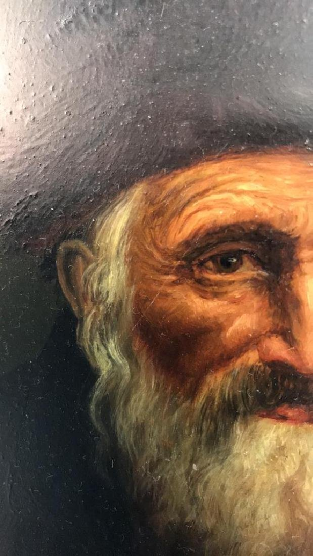 Signed Oil Painting On Board Of Rabbi - 7