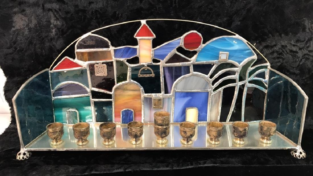 Stained Glass Jerusalem Rooftops Skyline Menorah