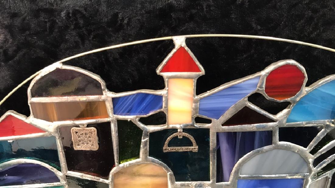 Stained Glass Jerusalem Rooftops Skyline Menorah - 3