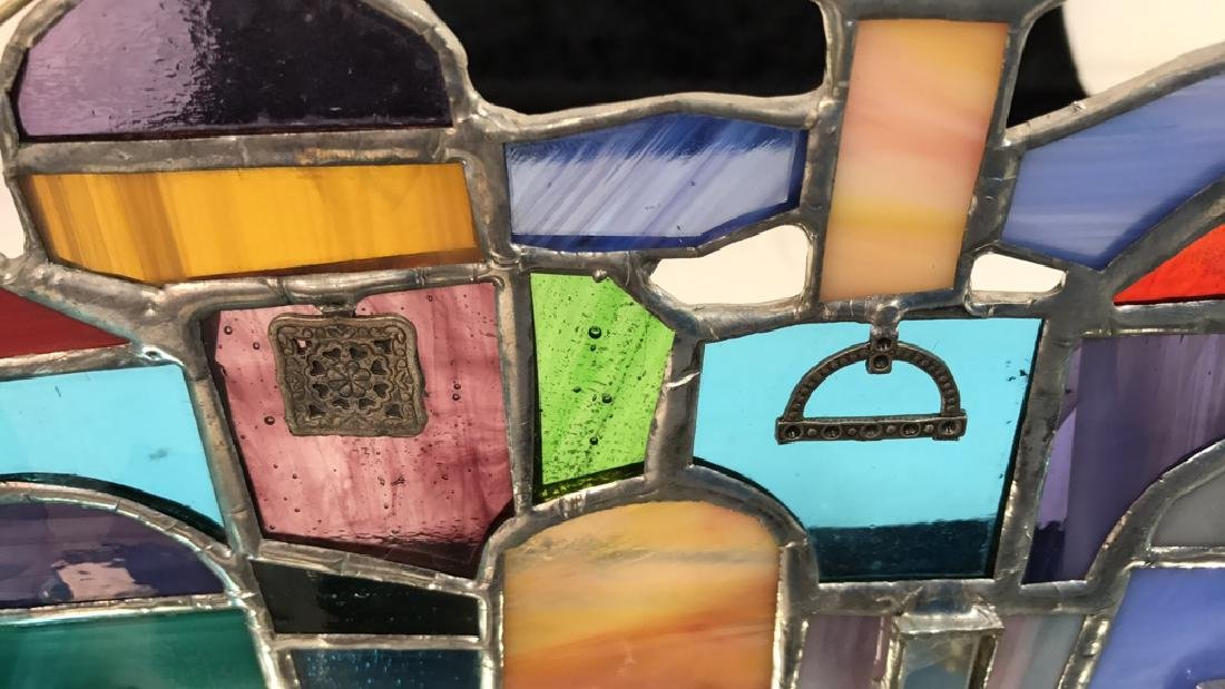 Stained Glass Jerusalem Rooftops Skyline Menorah - 5