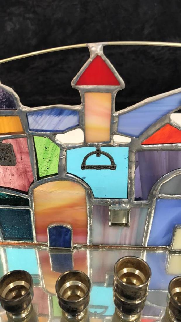 Stained Glass Jerusalem Rooftops Skyline Menorah - 8