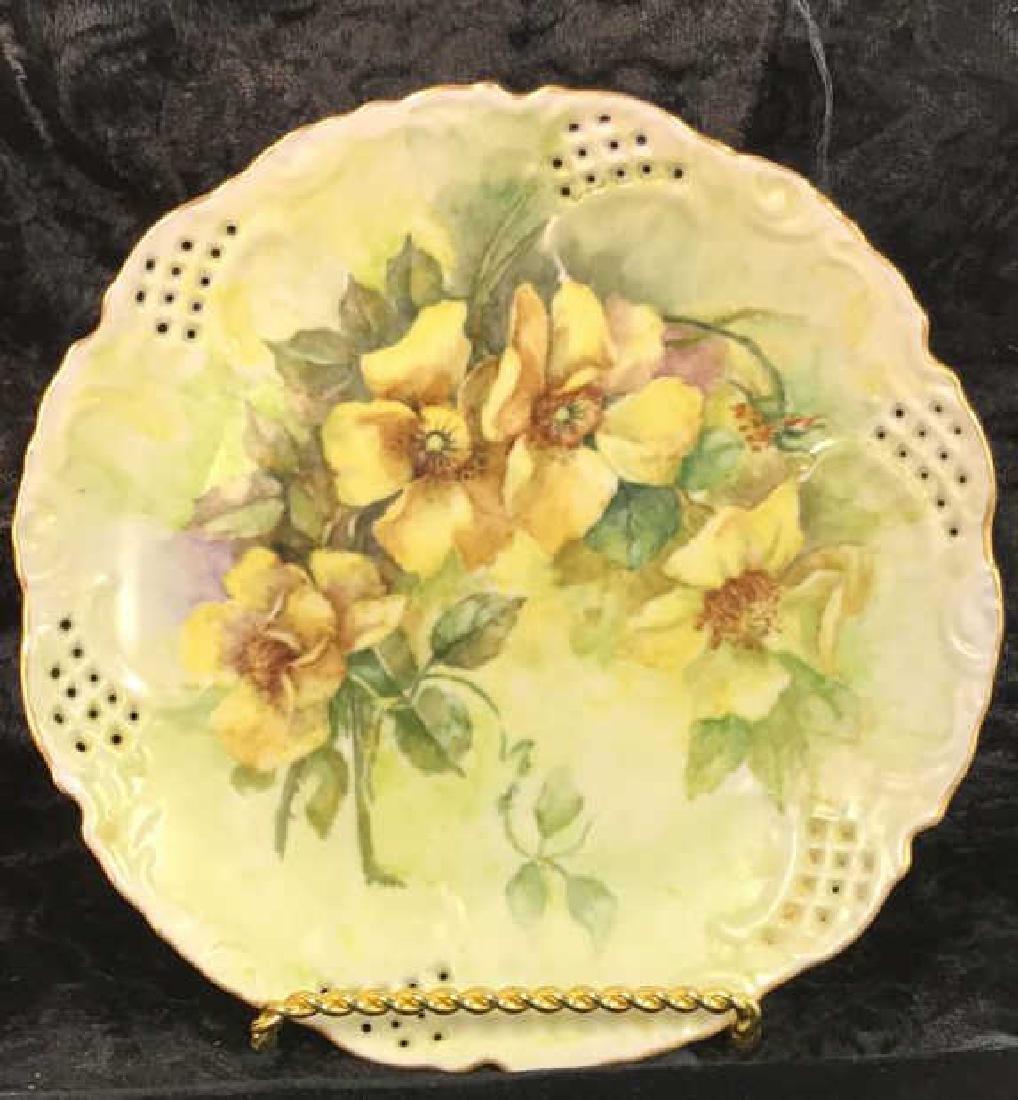 Set 7 Signed hand Painted Filigree Porcelain Plate - 10