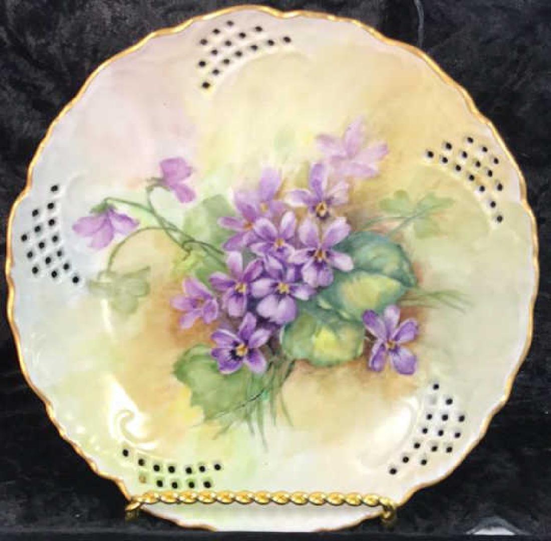 Set 7 Signed hand Painted Filigree Porcelain Plate - 2