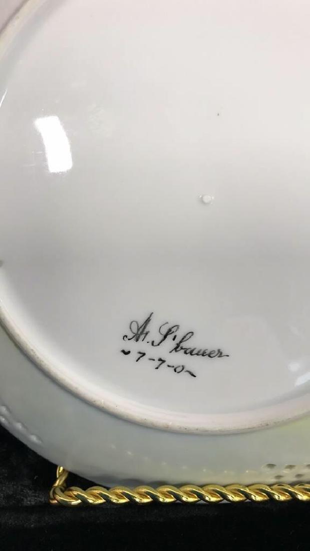 Set 7 Signed hand Painted Filigree Porcelain Plate - 3