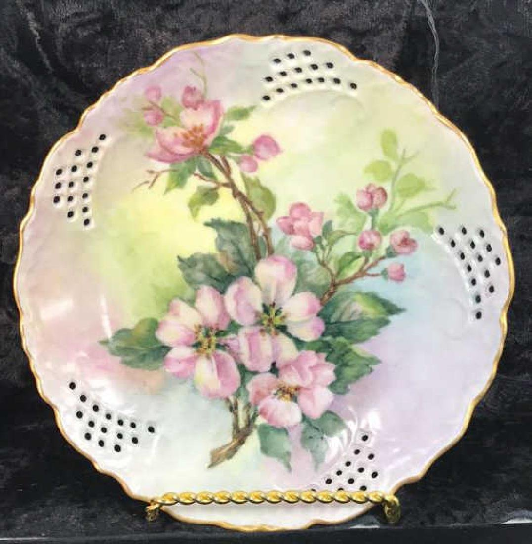 Set 7 Signed hand Painted Filigree Porcelain Plate - 4