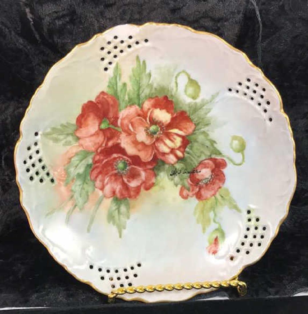 Set 7 Signed hand Painted Filigree Porcelain Plate - 6