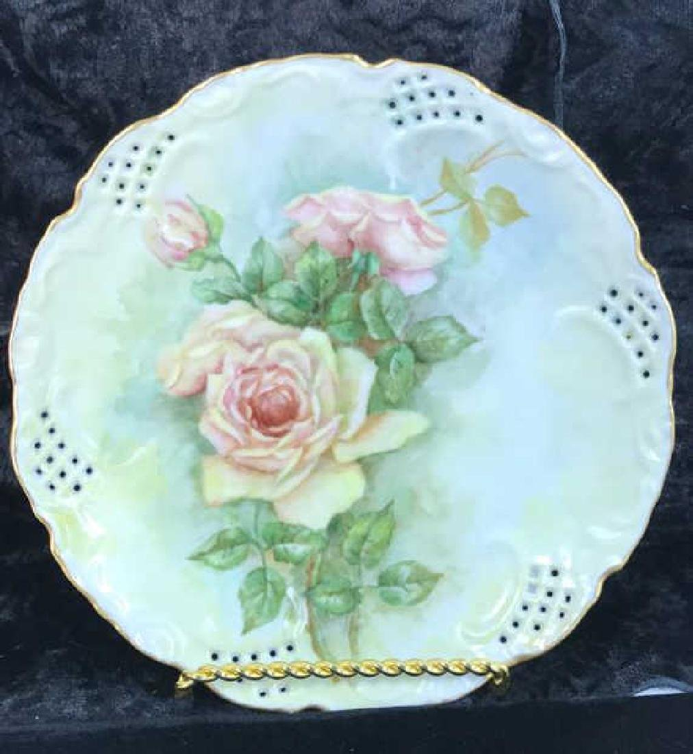 Set 7 Signed hand Painted Filigree Porcelain Plate - 9