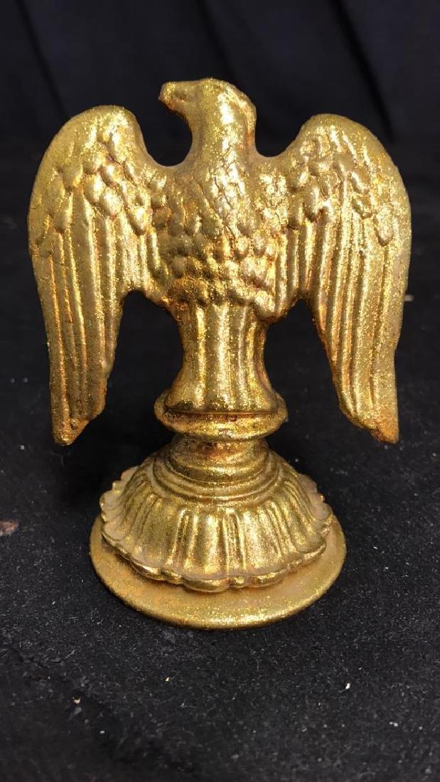Pair Gold Toned Glitter Sequin Metal Hawk Figurine - 8
