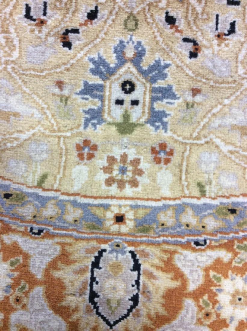 Circular Floral Motif Handmade Vintage Fringed Rug