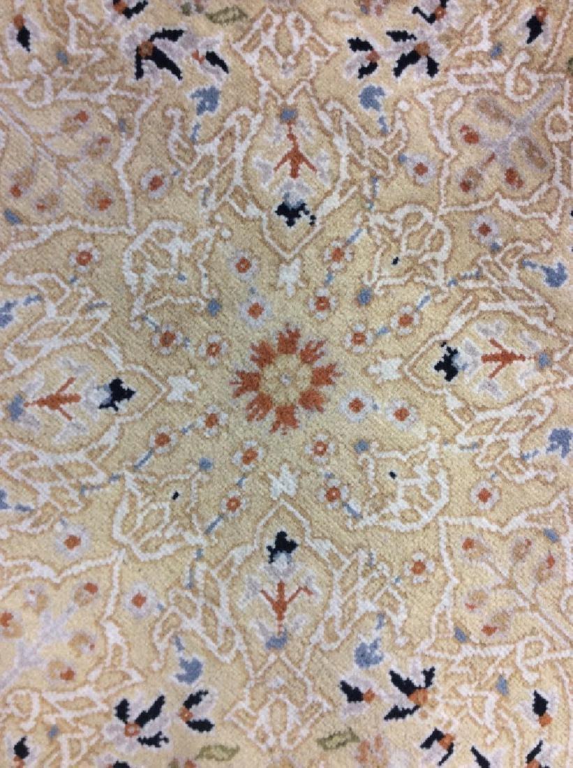 Circular Floral Motif Handmade Vintage Fringed Rug - 4