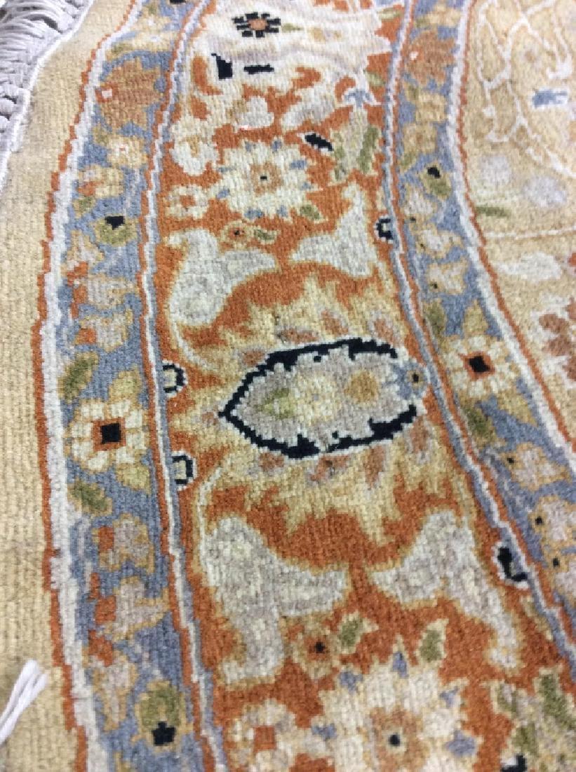 Circular Floral Motif Handmade Vintage Fringed Rug - 7
