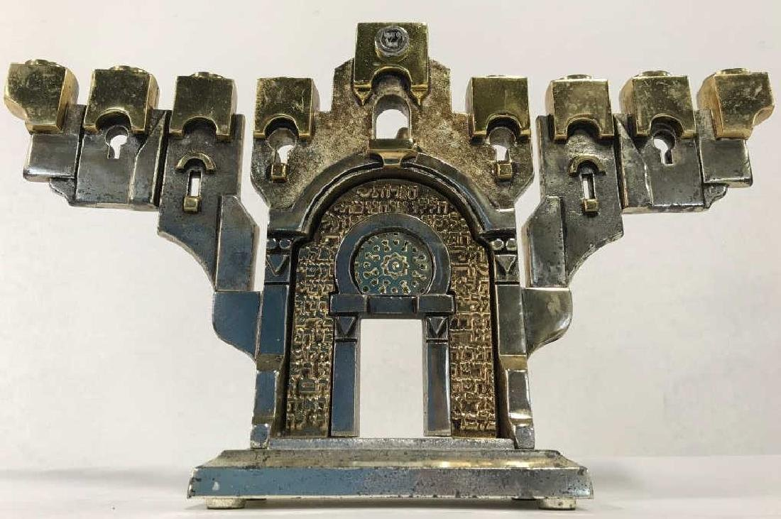 MEISLER, Judaica GOLDEN GATE MENORAH & Stand - 10