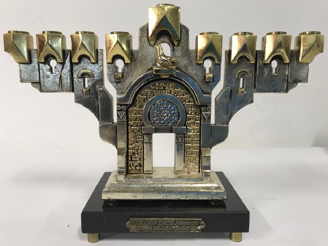 MEISLER, Judaica GOLDEN GATE MENORAH & Stand