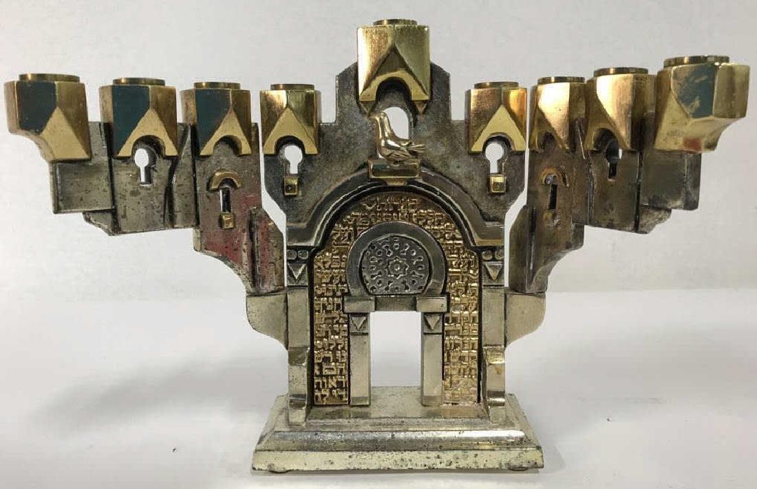 MEISLER, Judaica GOLDEN GATE MENORAH & Stand - 4