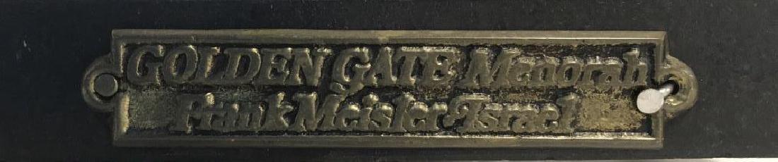 MEISLER, Judaica GOLDEN GATE MENORAH & Stand - 7