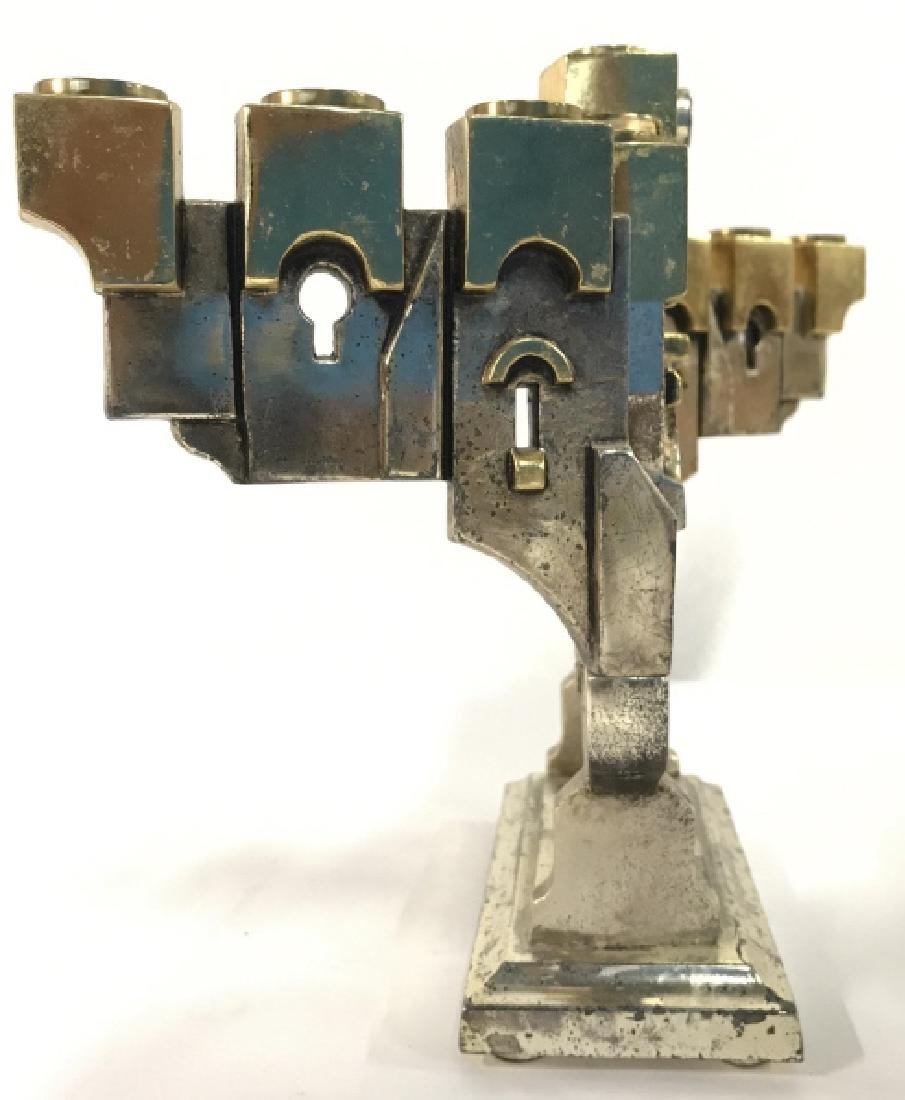 MEISLER, Judaica GOLDEN GATE MENORAH & Stand - 9