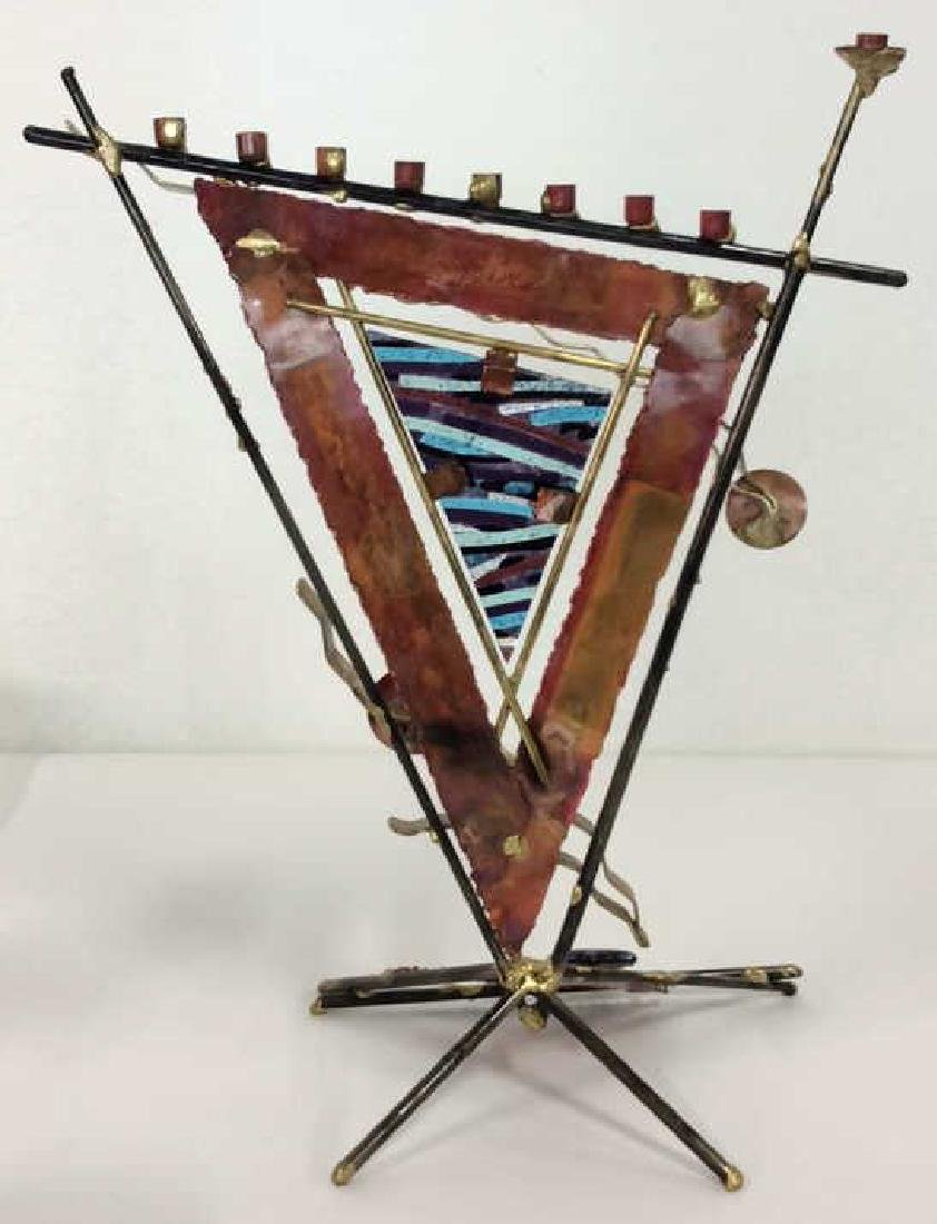 Art Metal Assemblage Structural Menorah - 8