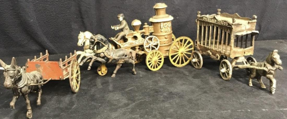 Antique Painted Metal Circus Set Toy Decor - 2